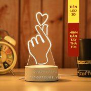 Đèn Ngủ LED 3D 16 Màu Remote - Hình Tay Thả Tim
