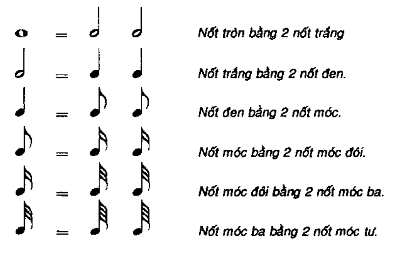 Mỗi hình dáng nốt nhạc thể hiện giá trị trường độ âm thanh khác nhau