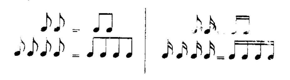 Hai nốt móc sẽ được nối lại với nhau bằng dấu gạch ngang