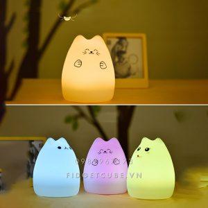 Đèn Ngủ Silicon Dẻo Hình Mèo Cho Trẻ Em